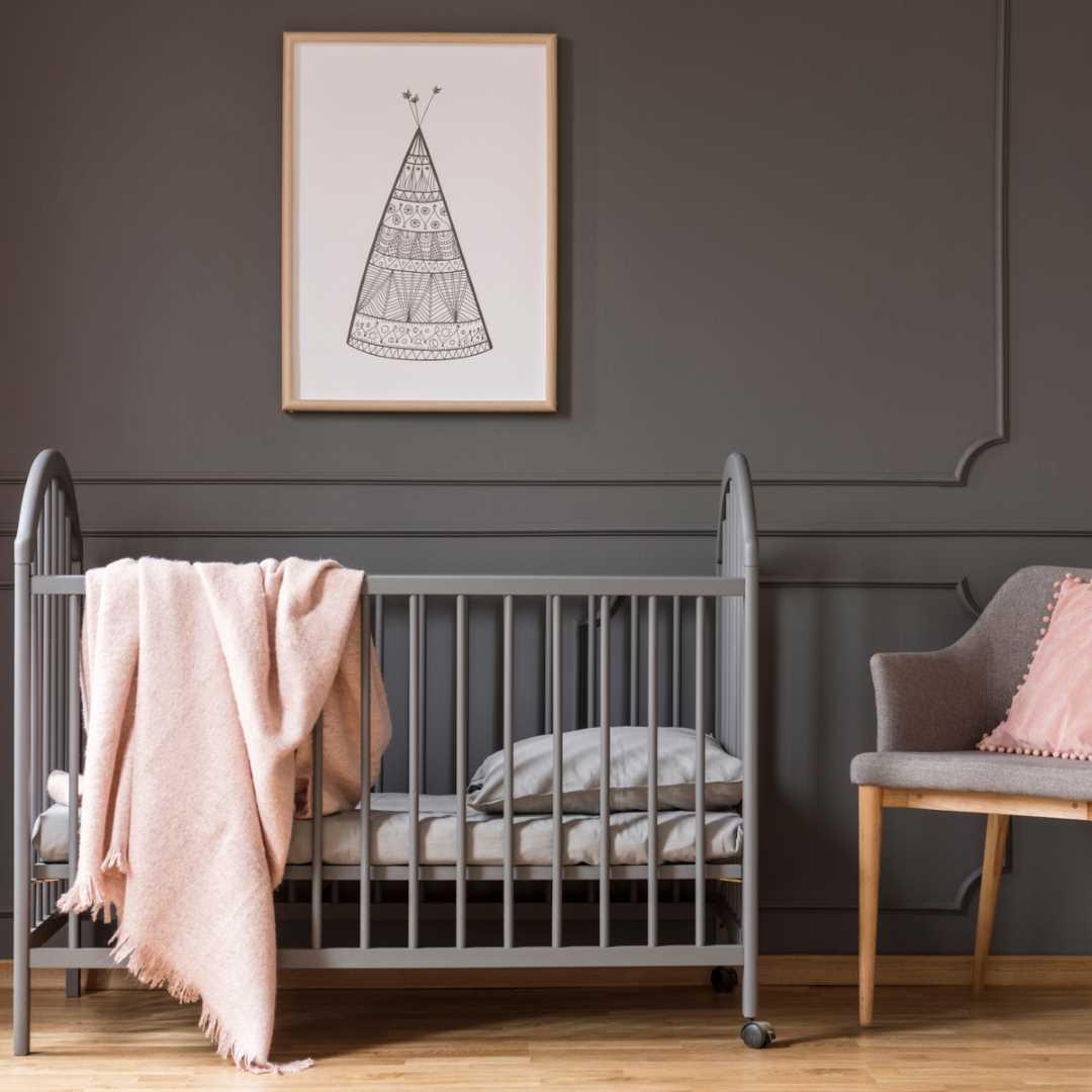 child's nursery painted in grey matt emulsion paint vintro